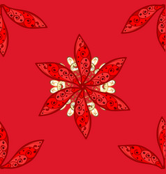 flowers on red white and black colors cute floral vector image