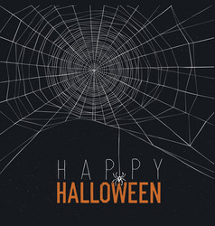 halloween background with spider web and text vector image