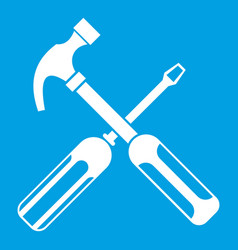 Hammer and screwdriver icon white vector
