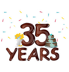 happy birthday thirty five 35 year vector image vector image