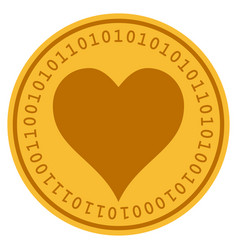 Hearts suit digital coin vector