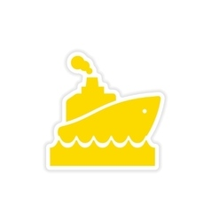 Icon sticker realistic design on paper ship wave vector