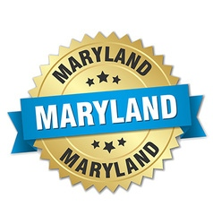Maryland round golden badge with blue ribbon vector