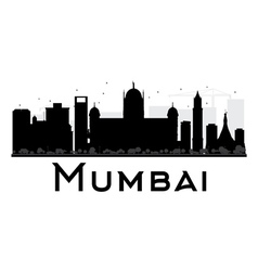 Mumbai city skyline black and white silhouette vector
