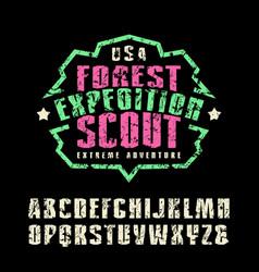 Narrow sanserif font and camp emblem for t-shirt vector