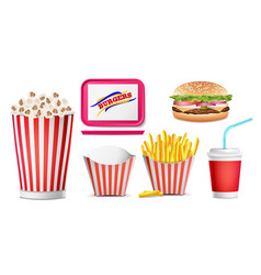 realistic fast food icons set french fries vector image vector image