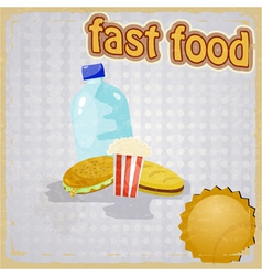 Retro background with the image of fast food vector image vector image