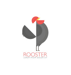 rooster and cock flat design style template of vector image