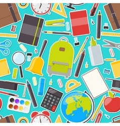 Seamless pattern of school supplies vector image