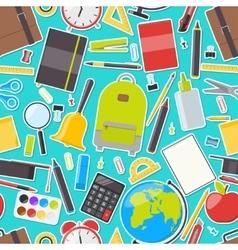 Seamless pattern of school supplies vector