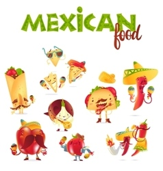 Set of happy mexican food characters playing vector