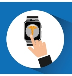 Smart watch caduceus wearable healthy vector