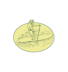 surfer dude stand up paddle oval drawing vector image