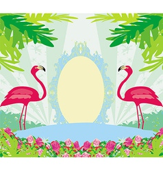 Vintage frame - green palms and pink flamingo vector