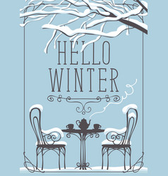 Winter street cafe under tree with lettering vector