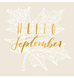 Hello september card vector
