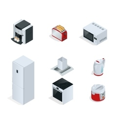 Isometric home appliances set of household vector