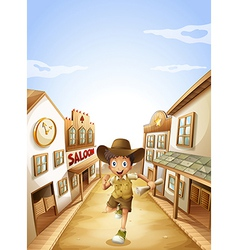 A boy holding a paper while running vector image