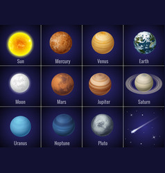 Solar system planets on black background isolated vector