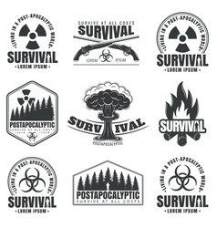 Set of icons on the theme of survival vector