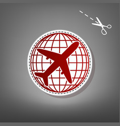 globe and plane travel sign  red icon with vector image