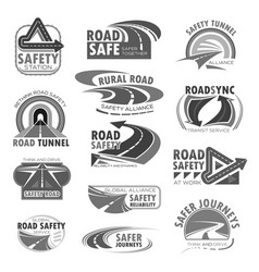 Icons set for road safety construction vector