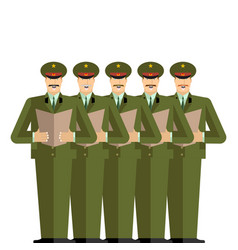Military choir officers sing songs war band army vector