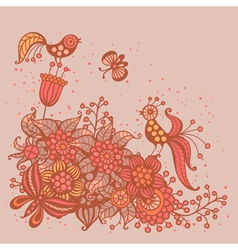 Romantic card with flowers birds and butterflies vector