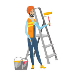 Hindu house painter holding paint roller vector