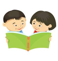 cartoon kids reading book asiatic vector image