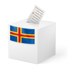 Ballot box with voting paper aland islands vector