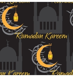 Crescent and lantern to light the holy muslim vector