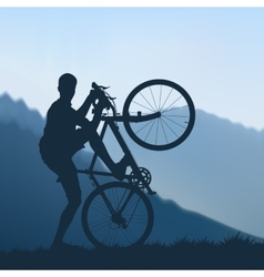 Cyclist in the mountains vector