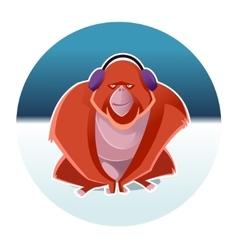 Orangutan and the winter vector image
