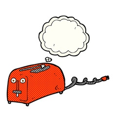 Cartoon toaster with thought bubble vector