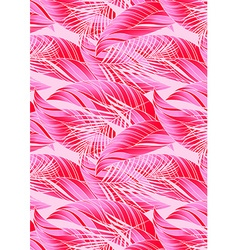 Red and pink tropical leaves in repeat pattern vector