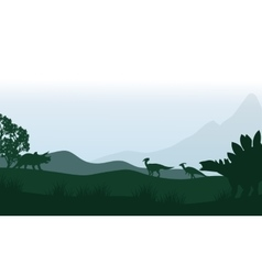 Silhouette of stegosaurus and parasaurolophus in vector