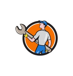 Mechanic carrying giant spanner circle cartoon vector