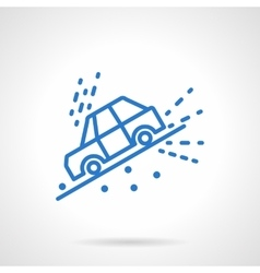 Car slope down blue line icon vector