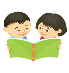 cartoon kids reading book asiatic vector image