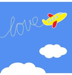 Cartoon plane dash word love in the sky love card vector