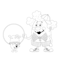 Clown with trained dog contour vector image vector image