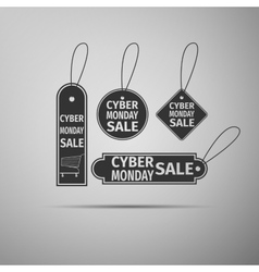 Cyber monday sale tag flat icon on grey background vector