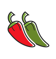 different hot peppers vector image vector image