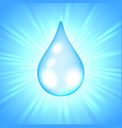 drop of water on sunburst background vector image vector image