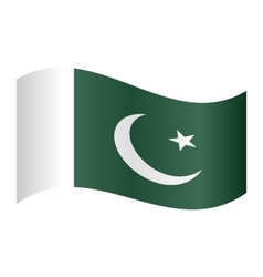 Flag of pakistan waving on white background vector