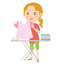 Houswife ironing character design style vector