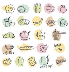 icons breakfast foods vector image