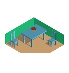 Isometric room dinner table vector