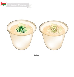 Laban or omani fermented milk with sour flavor vector